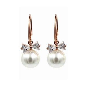 Elegant crystal ties pearl earrings